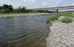 福生南公園 多摩川は流れが速いので水遊びは十分に気を付けてください。