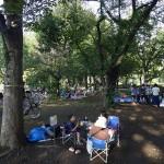 武蔵野中央公園 バーベキューは木陰で涼しくできます。