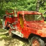 西湖キャンプ場テント村消防車